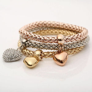 Jewelry - 3 Piece Silver Rose Gold Heart Bangle Bracelet
